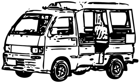 inc: A small minibus - a simplified monochrome vector image Illustration