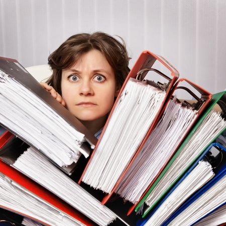Accountant swamped the financial statements for the year photo