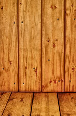 Brown pine wooden background with floor Stock Photo - 12295288