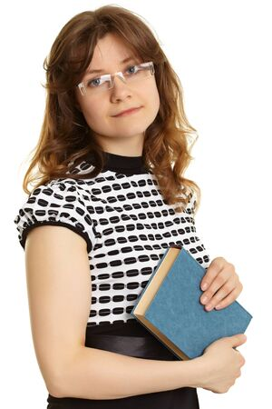 Portrait of a young woman - a teacher with a book isolated on white background photo