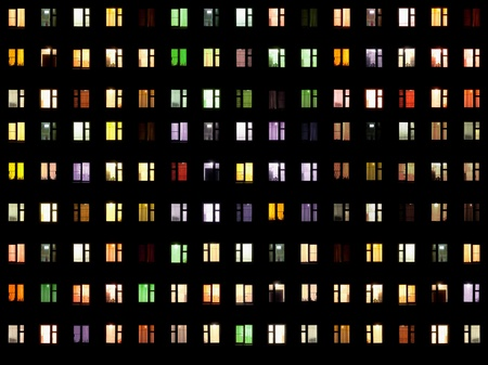 illuminated wall: Seamless texture from set of windows on a black background - night Stock Photo