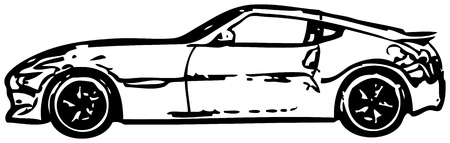 Sports car - rough monochrome vector illustration Vector