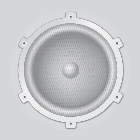 A light gray, silver loudspeaker closeup Vector