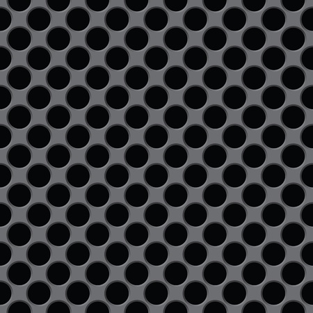 The dark gray surface with circular holes - seamless texture Vector