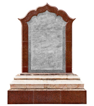 Large old granite slab - a monument isolated on white background