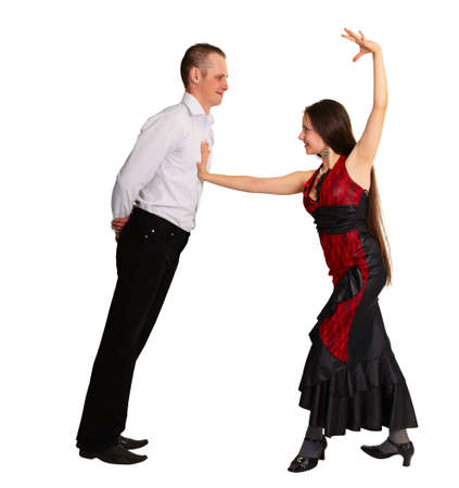 passionately: Boy and girl passionately dancing ballroom dance isolated on white background