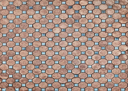 cobble: The surface of the old pavement covered with tiles Stock Photo