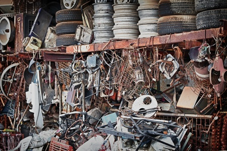 scrap iron: Unnecessary metal trash dump in the open air