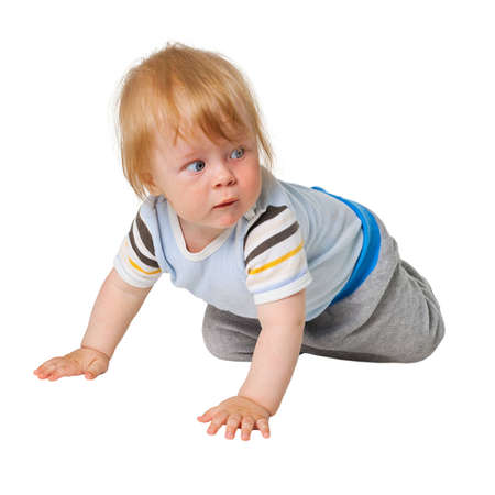 The little boy crawling on white background photo