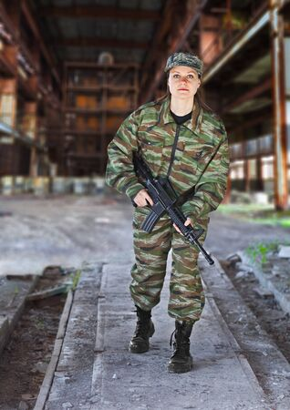 army girl: A woman in military operation - production photos