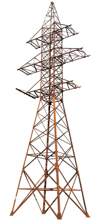 pylon: A large steel electric pole isolated on a white background Stock Photo