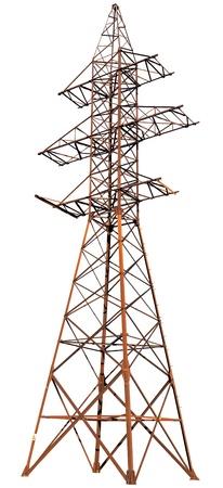 hoogspanningsmasten: Een grote stalen elektrische paal geïsoleerd op een witte achtergrond Stockfoto