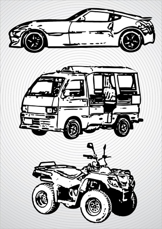 inc: Three vehicles for different purposes - vector monochrome illustration