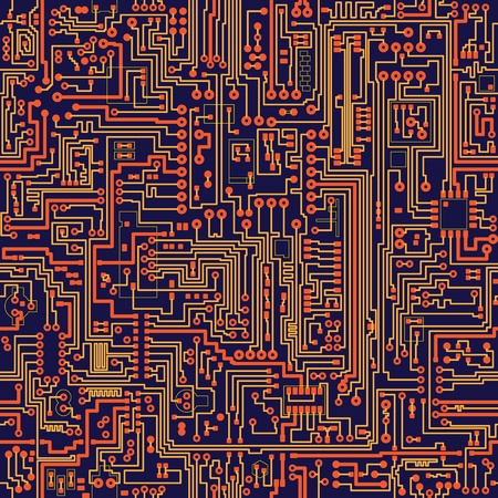 electronic circuit: Seamless vector color texture - electronic circuit board