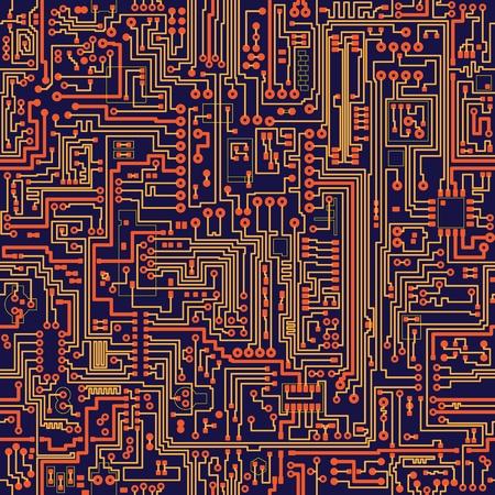 circuito electronico: Seamless vector textura de color - placa de circuito electr�nico Vectores