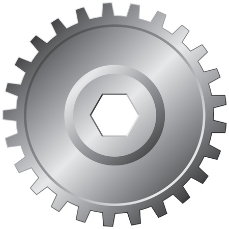 One big steel gear - vector illustration  Vector