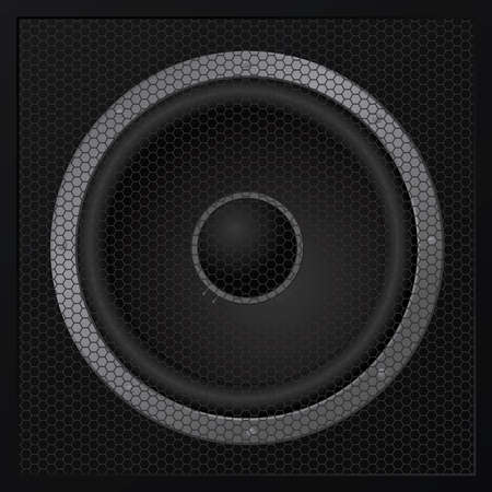 One black loudspeaker closeup - Stock Vector - 12492034