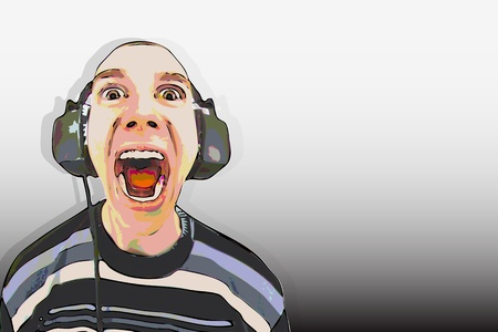 face with headset: The man in the big headphones loud singing Illustration