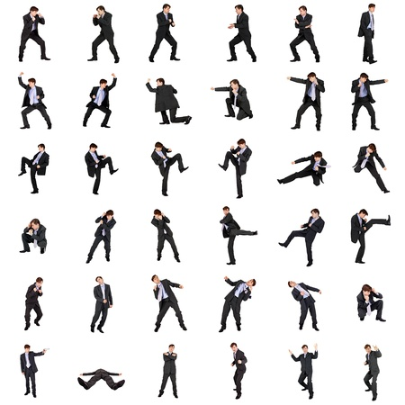 A set of fighting businessmen isolated on white background Standard-Bild