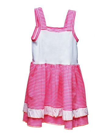 cotton dress: Kids dress with pink stripes isolated on white background Stock Photo