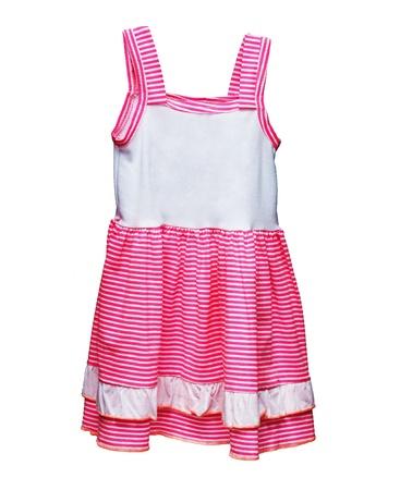 ropa de verano: Los ni�os visten con rayas de color rosa sobre fondo blanco Foto de archivo