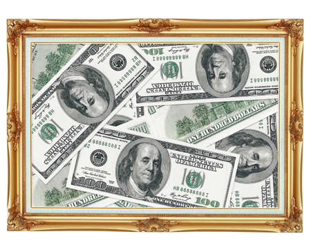 The picture in the old-fashioned frame - the money - dollars photo