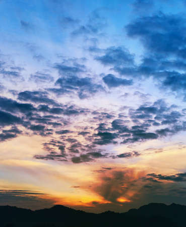 Sunset over the mountains, Thailand, Krabi, vertical photo