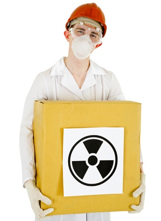 radioactive: A scientist with a radioactive box isolated on white background