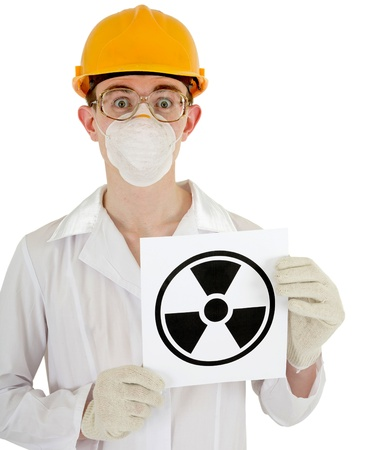The scientist - a chemist with the sign of radiation in the hands photo