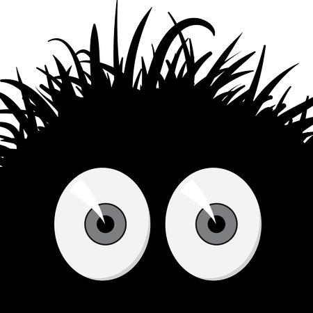 creepy monster: Scuro, strano, illustrazione fumetto creatura spaventata Vettoriali
