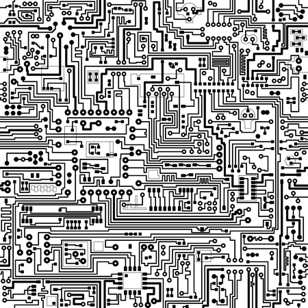 computer hardware: Electronic components. seamless texture. Connections and contacts. Illustration