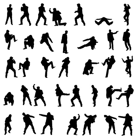 kung fu: Silhouettes of the fighting businessmen illustration set.
