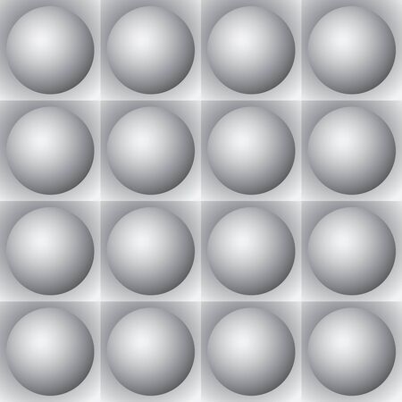 volumetric: Monochrome volumetric pattern of gray spheres and squares Illustration