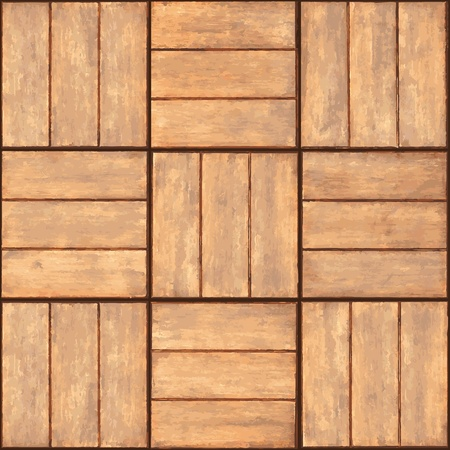 Seamless texture - a wall lined with wooden plaque Vector