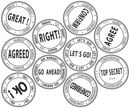A set of bureaucratic round stamps Stock Vector - 13638863