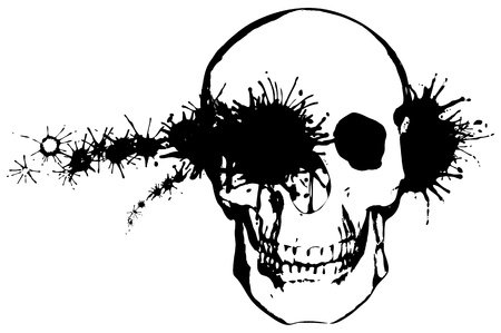 death metal: Black and white grunge illustration - a bullet through a human skull Illustration