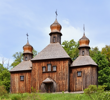 russian church: An old wooden Christian Orthodox Church Stock Photo
