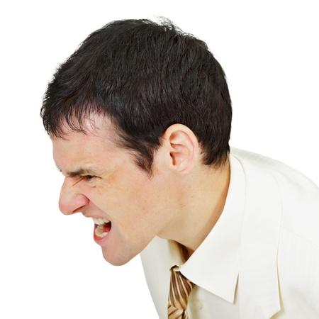 Furious men shouting isolated on white background Stock Photo - 13940252