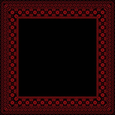The black frame is decorated with red ornaments Vector