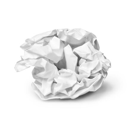 A crumpled sheet of paper on a white background photo