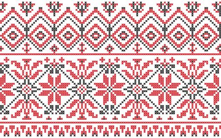 Ukrainian ethnic ornament - cross-stitch on a white background Vector