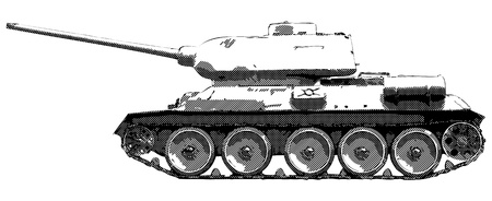 white russian: Russian tank T 34 of World War II