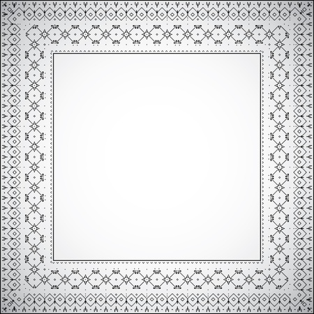 grey rug: A simple square frame with ethnic pattern - Vector