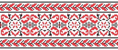 ukrainian: Ukrainian cross-stitch red and black pattern - Vector Illustration