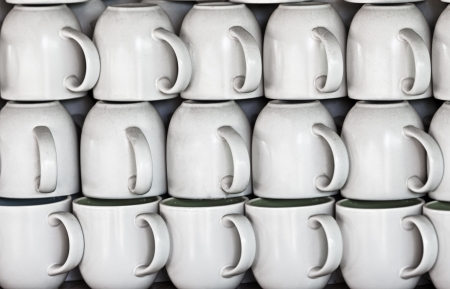 craft product: White ceramic cups on the market stall