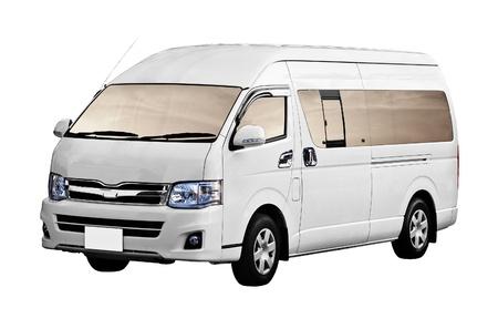 Minibus ist auf einem weißen Hintergrund isoliert Standard-Bild - 14100893