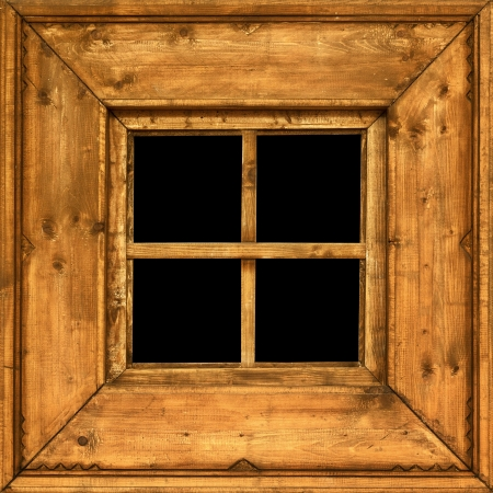 countryside: An old square wooden rural window frame Stock Photo