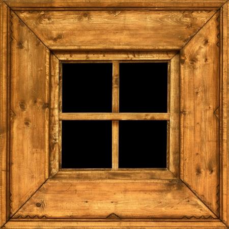 marco madera: Un viejo cuadrado de madera marco de la ventana rural Foto de archivo