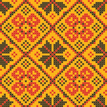 ukrainian: Seamless texture - Ukrainian cross-stitch on a yellow background Illustration