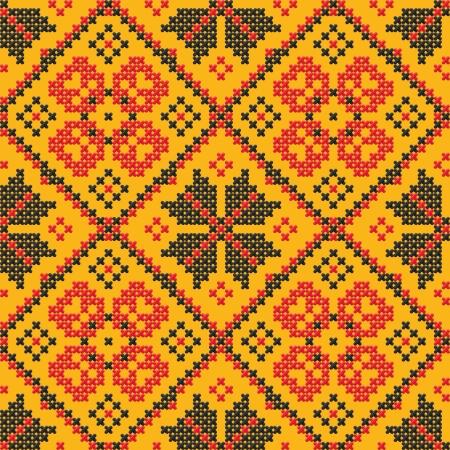red stitches: Seamless texture - Ukrainian cross-stitch on a yellow background Illustration